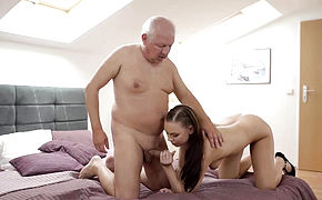 DADDYK Teen petite Ornella Morgen tastes dick of her bf