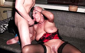 German Aunt at Taboo Threesome with Nephew and Husband