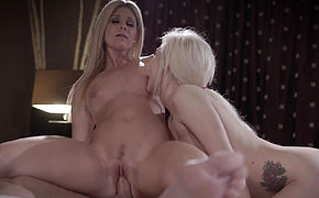 Milf and stepdaughter sharing cock