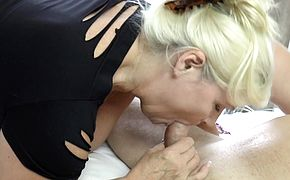 Titfucking brit grandma sucks and rides cock