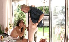 Old husband ask him fuck young wife