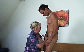 Picked up grandma rides his horny young dick