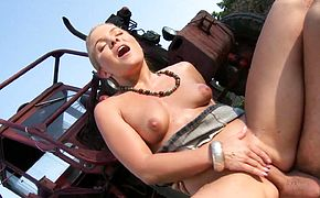 Farmers Daughter Fuck Outdoor Anal by White Monster Cock Guy