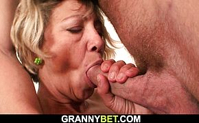 He fucks old mature cleaning woman from behind