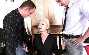 Hot blonde grandma gets used in the office