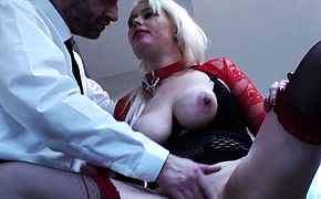 Chubby submissive sucks and rides