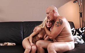 DADDYK Remarkable Candee Licious blows old dick and rides