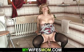 He warms up busty mom in law before taboo cock riding