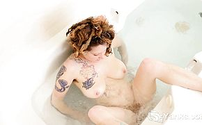 Like any girl Misty Trips loves playing in the bath tub