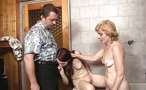 Mom licking and toying her young hole before some