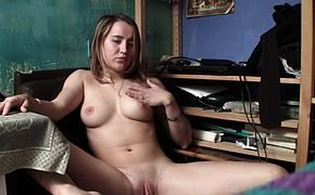 Seductive divine blonde touches herself all over