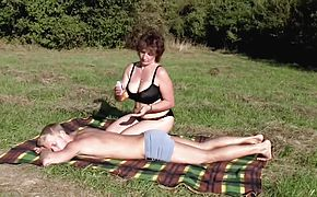 Brunette BBWMilf Outdoors by Young Guy