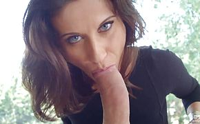 Beautiful glamour girl Madlin Moon expanded her asshole with glass dildo and now sucking her fuckers cock