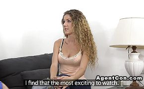 Curly amateur sucks in casting