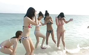 Six Beautiful Japanese Girls Beach Orgy Uncensored