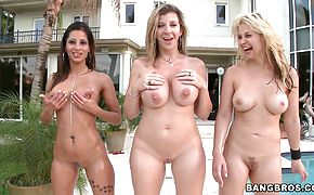 Three adorable whores Sara Jay Sarah Vandella Spicy J and one guy