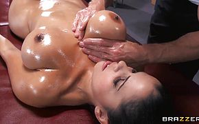 Young brunette girl with tight and very big boobs Diamond Kitty being oiled up and fucked in ass by Johnny Sins