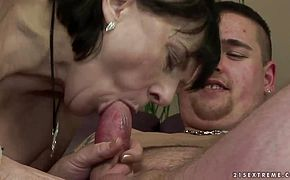 Margo T fucks and sucks a fat sweaty man