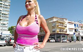 Hot titty beach show with horny Sharon Pink