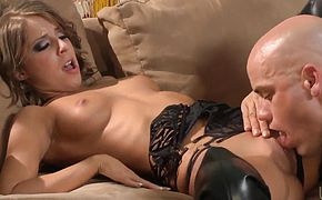 Sexy girl in boots Presley Hart make man happy