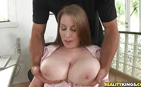 Jmac greedily holds Desirees tits in his hands